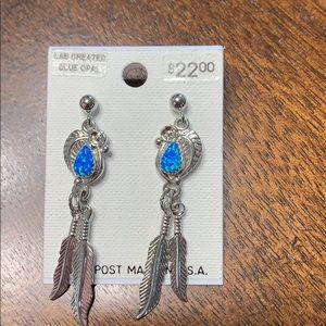 Lab Created Blue Opal Earrings